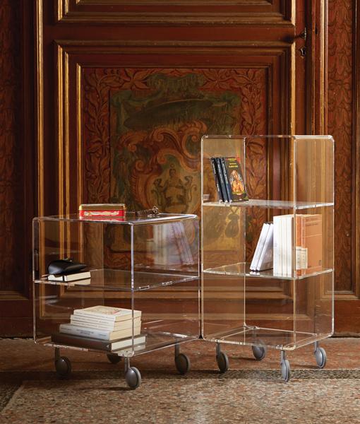 Multipurpose Trolley in Transparent Methacrylate Design Furniture Accessories