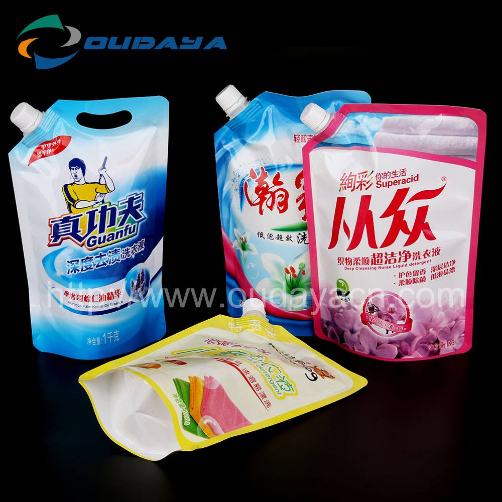 Flexible Reusable Spout Bags For Laundry Detergent Packing Soft Pouch
