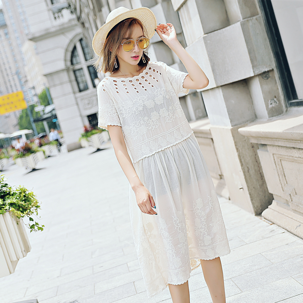 Lace Hollow Dress Short Sleeve Lace One Piece Summer Short Sleeve Lace Embroidery Dress