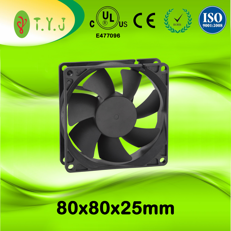 Plastic dc Cooling Fan 12v 80x80x25mm Air Pressure 3.54mm-H2O
