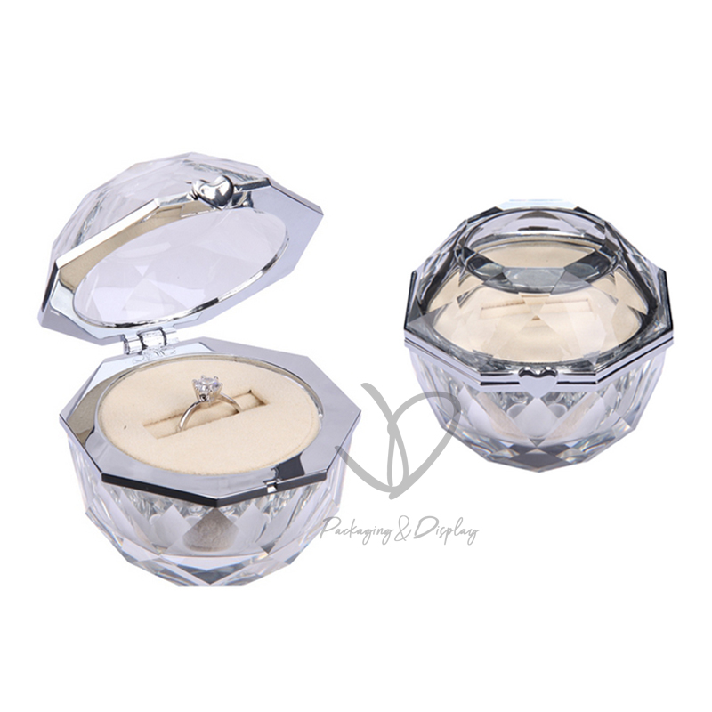Custom glass diamond ring box crystal wedding ring jewelry box for Valentine's Day gifts