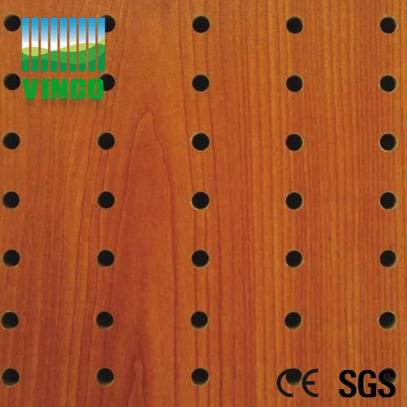 Acoustic wood perforated panel wall