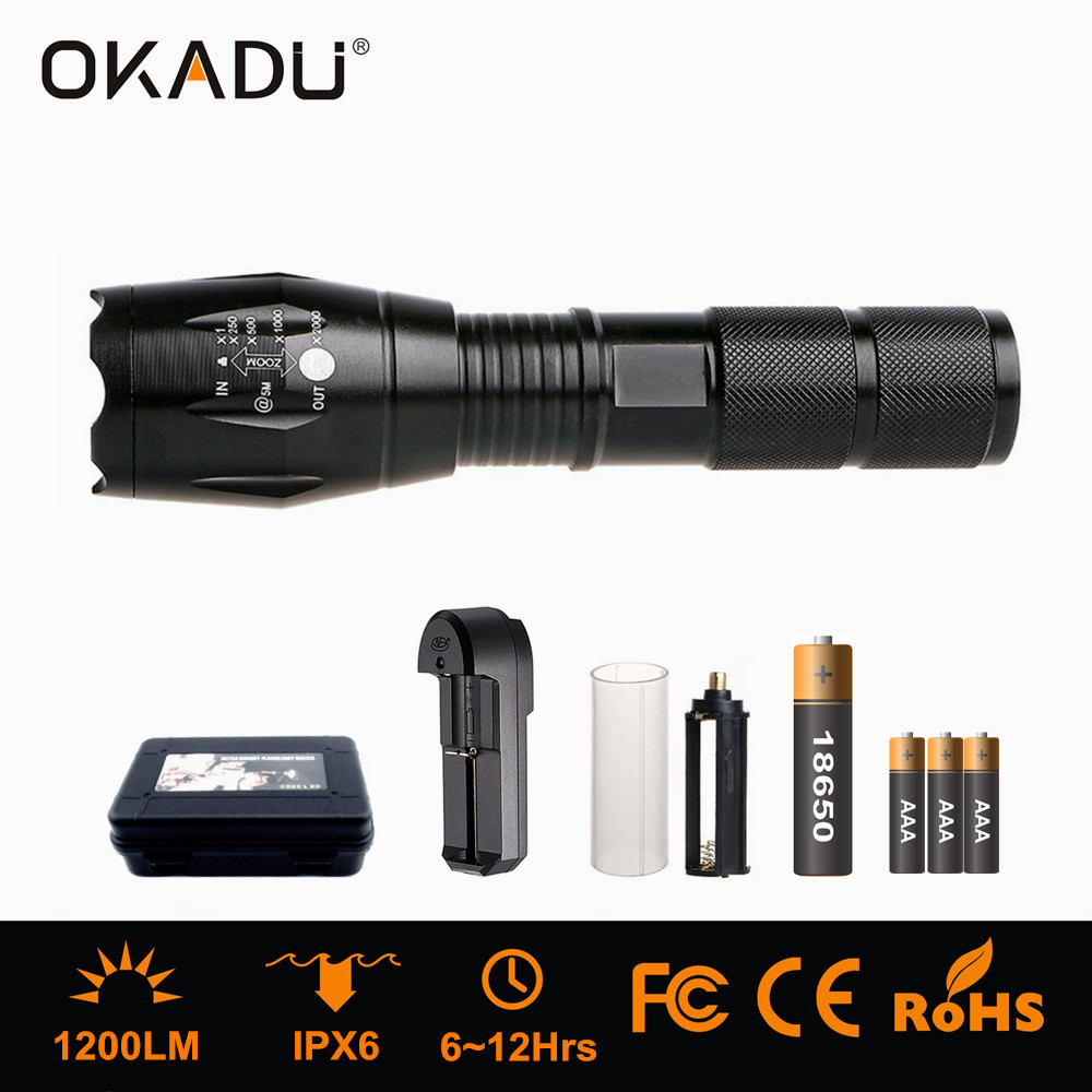Okadu ZT05 3xaaa/1X18650 Rechargeable Torch Run 12hrs Zoom LED Torch 1200lm CREE T6 LED Tactical Tor