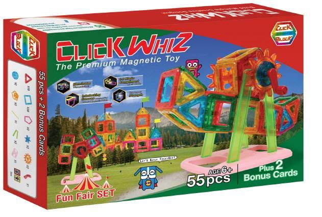 CLICKWHIZ 2D FUN FAIR Educational magnetic block toy