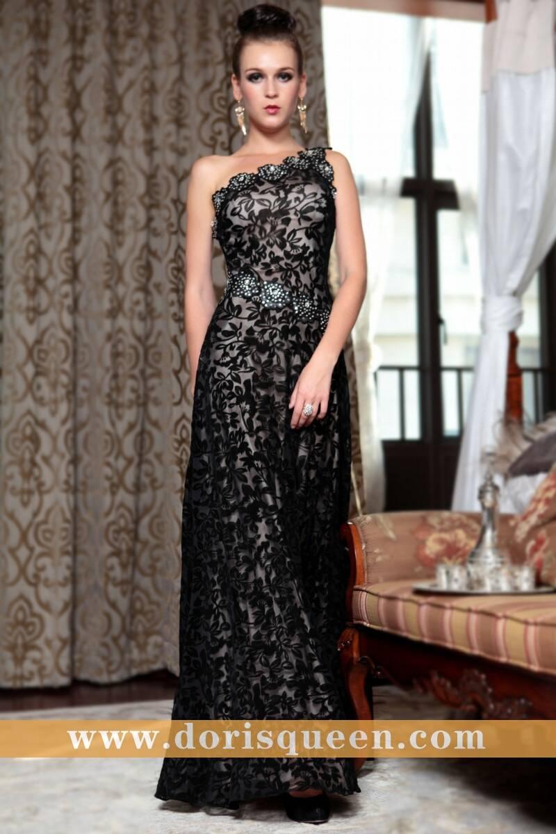 Dorisqueen velvet black lace mermaid dresses, one shoulder kim kardashian dresses 30856