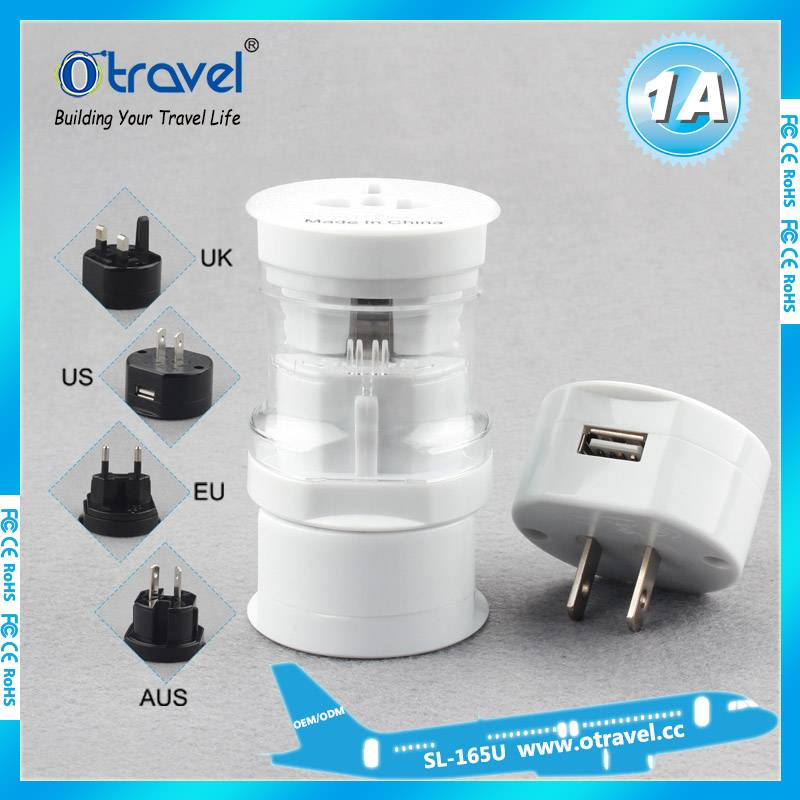 Universal travel adapter with one USB ports