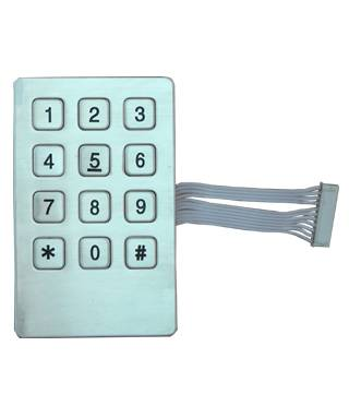High quality rear panel mounted 12 metal industrial keyboard metal keys stainless steel keypad