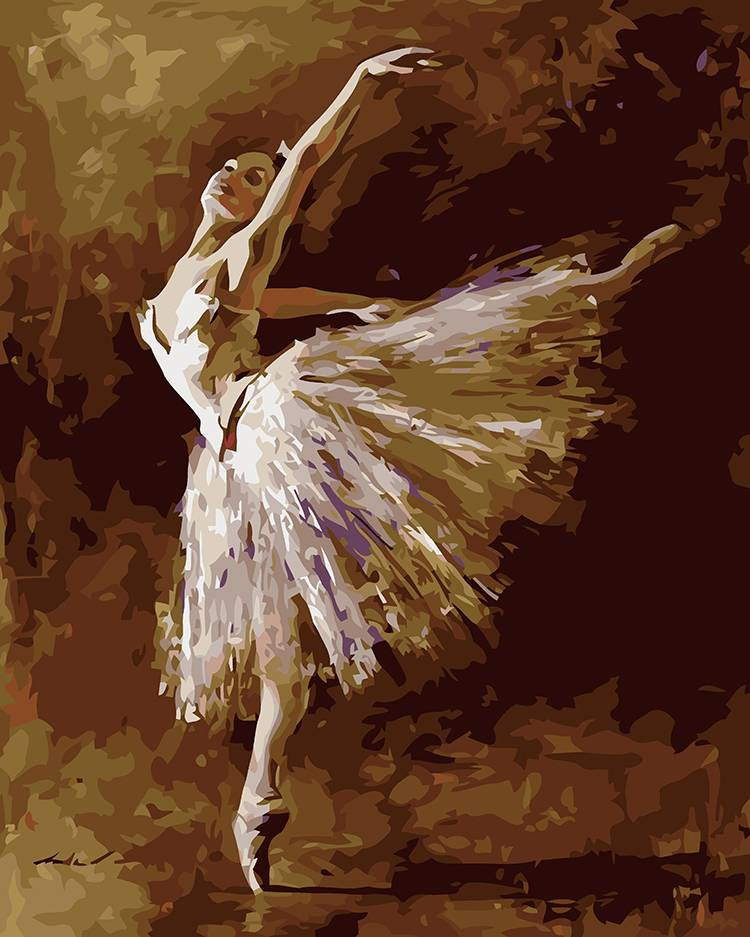 Frameless paint by numbers kits painting on canvas portrait ballet girl II