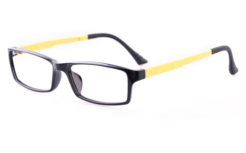S.Black Yellow 7004 SMOOTH Full Rim Square ULTEM Glasses