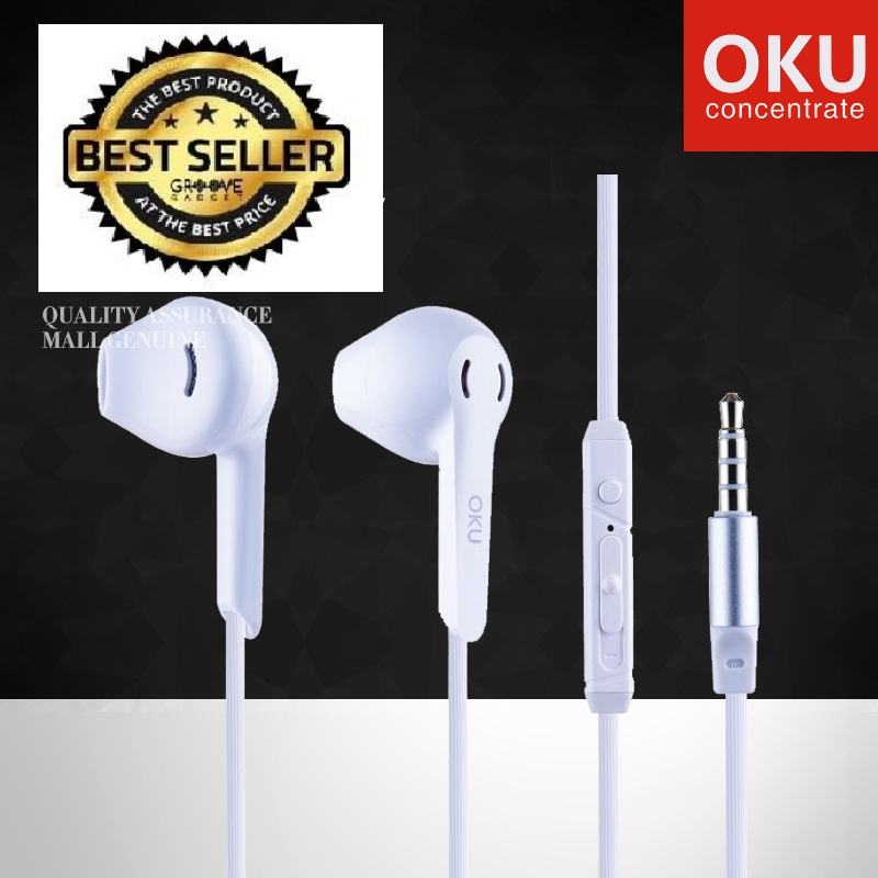 OKU-810 Universal Bass Earbuds with Microphone Noise-Cancelling Wire-Controlled Headphones