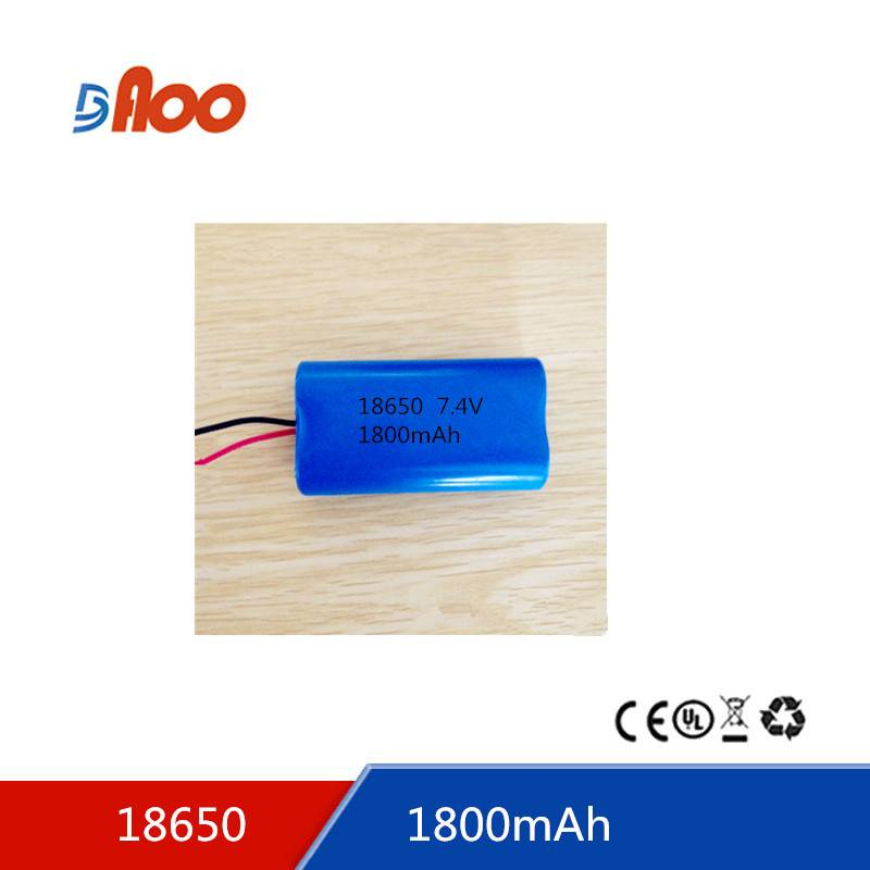 Li-ion 18650 battery pack 7.4V 1800mAh rechargeable battery