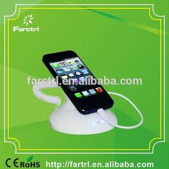 Alarm and charge mobile phone security holder stand