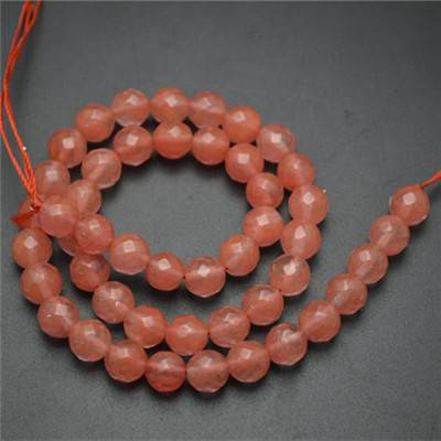Round Faceted Cherry Quartz Stone Loose Beads