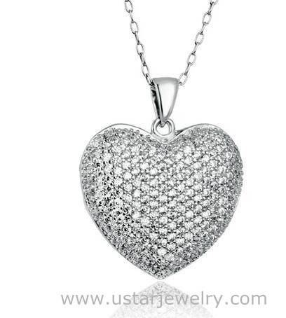 Heart Pendent Necklace woman 925 Silver Fashion Crystal Necklaces wholesale