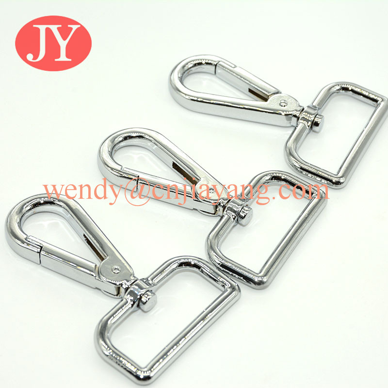 shiny silver high quality polished metal snap hooks for handbags