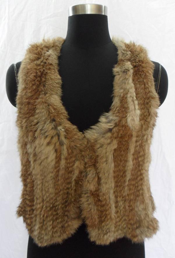 natural brown rabbit fur vest