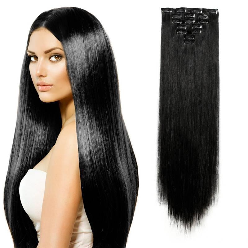 Jet Black color 1B# long straight 7pcs/set hair extension