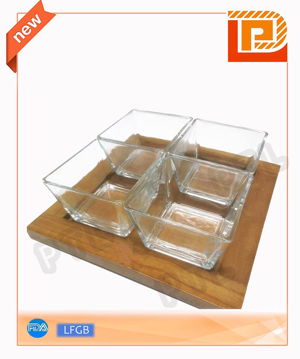 glass food holder with wooden stand