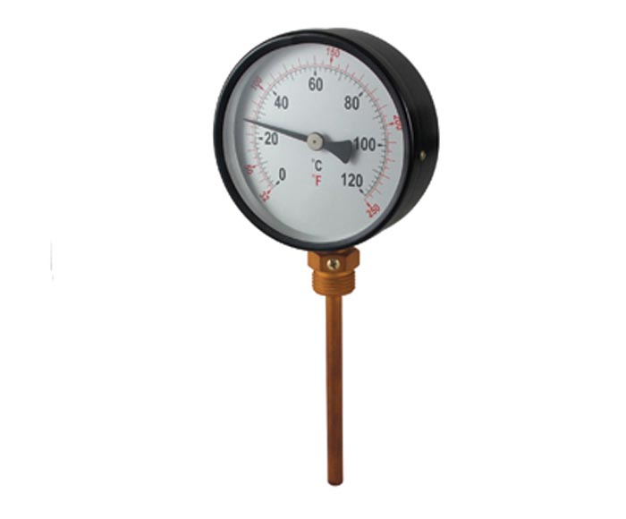 Industrial bimetal thermometer with thermowell