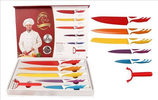 6pc non stick kitchen knife set