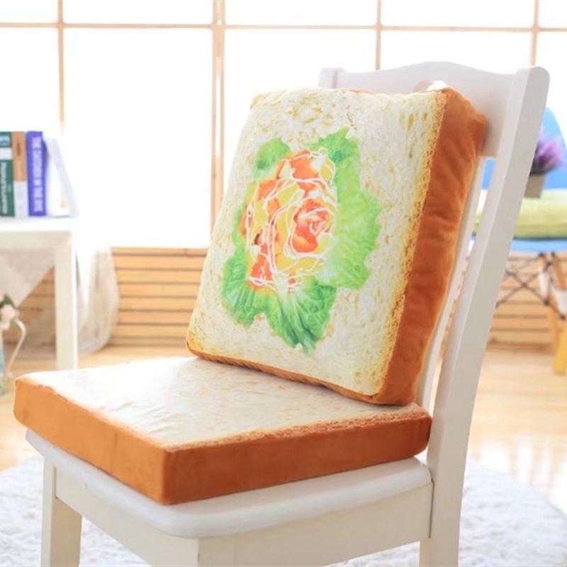 2017 Hot Sale Cushions 3D Creative Bread Toast Seat Cushion Almofadas Sofa Throw Pillows Home Decor