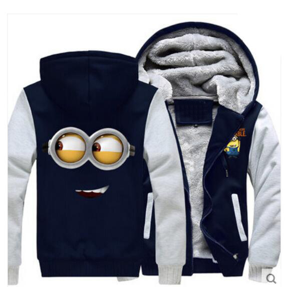 New Despicable Me Hoodies Anime Justice Hooded Winter cotton Coats Jackets Men Cardigan Sweatshirts