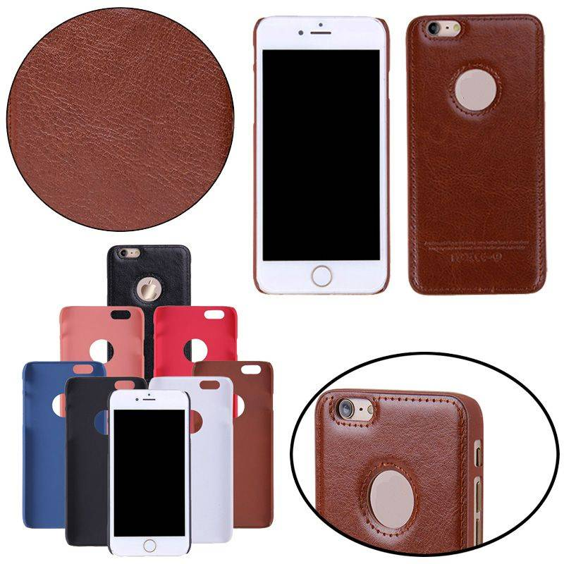 Flip Leather Case Oil Wax Skin Phone Back Cover W/ Logo Hole for iPhone 6 6S Plus 5S iPhone6 IP6C121