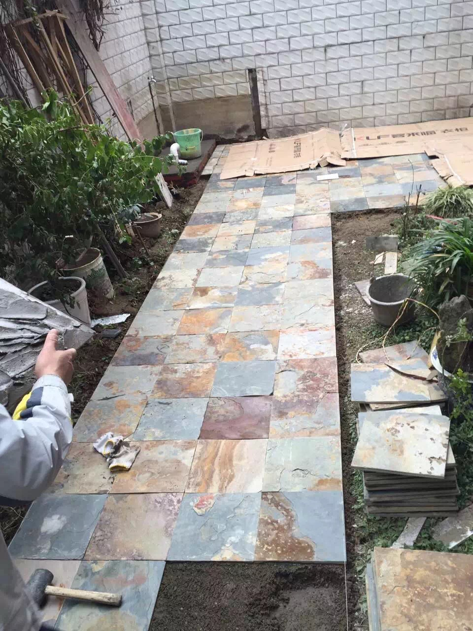 natural rusty slate stone tile 300x300mm