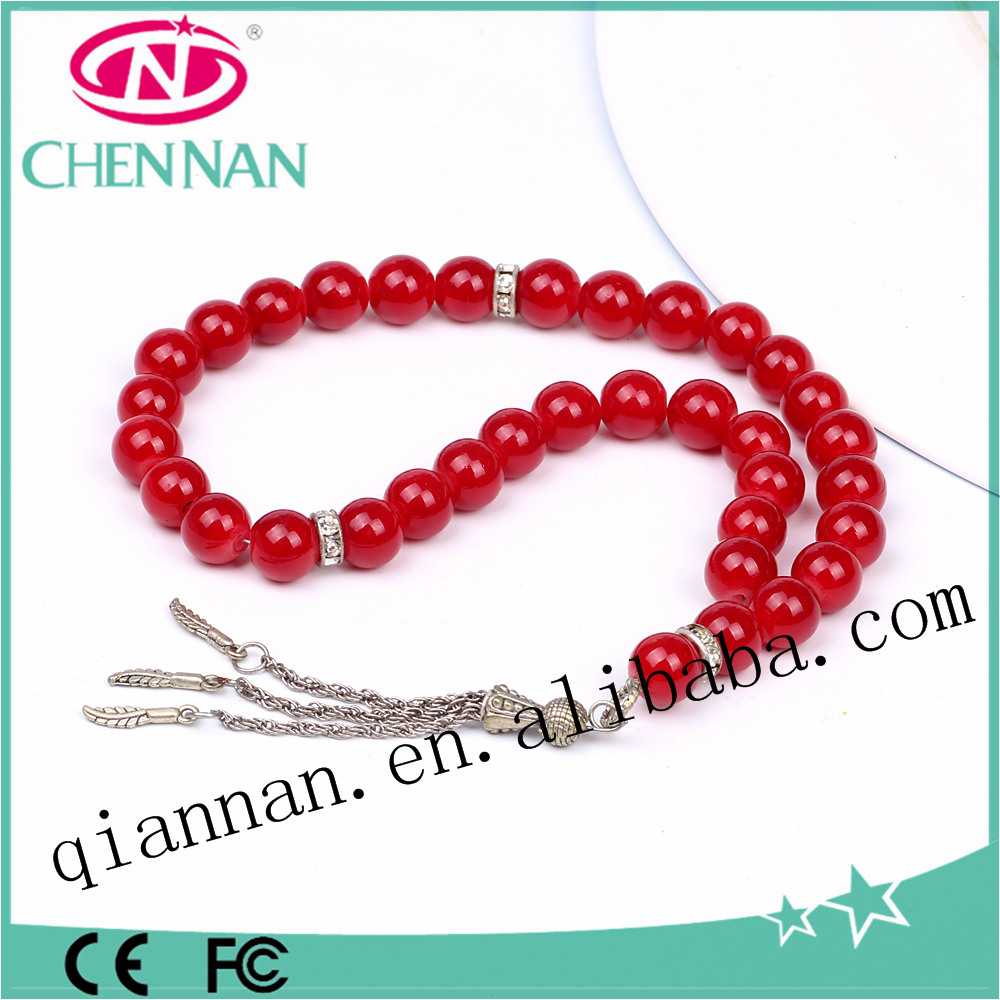 pujiang factory price wholesale Red round glass muslim prayer beads 33