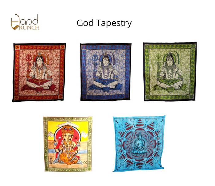Handicrunch | Indian Om  Printed Tapestry wall Hanging Bedcover
