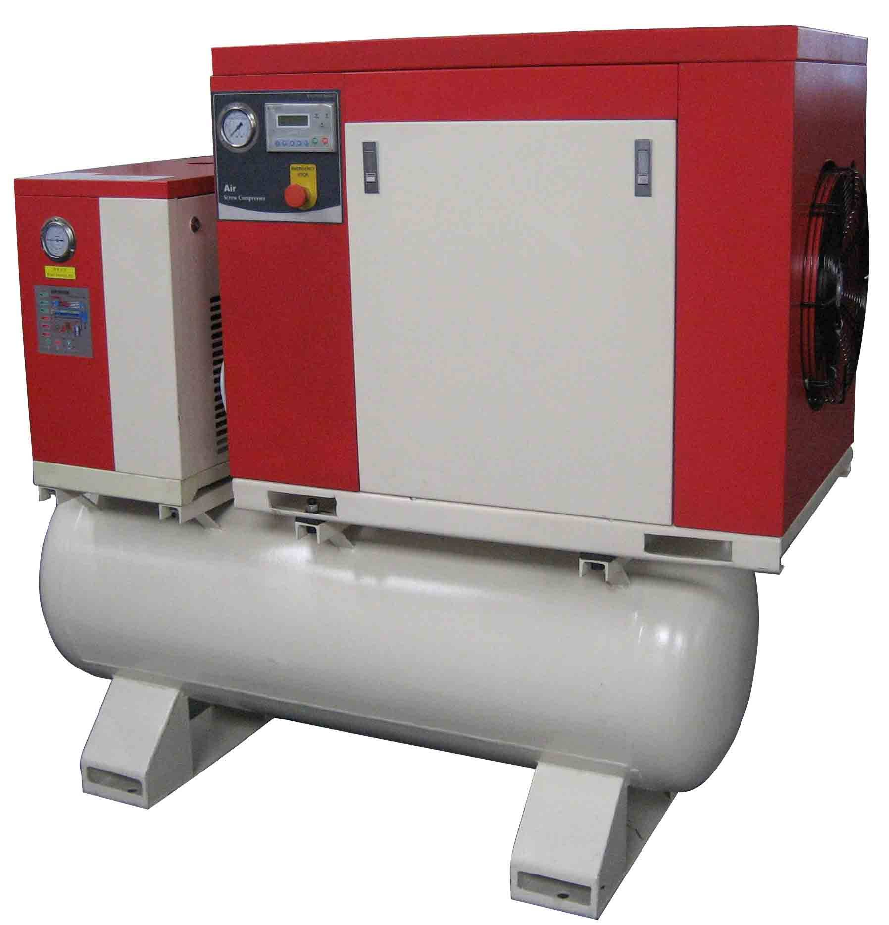 7.5hp screw compressor with dryer and tank