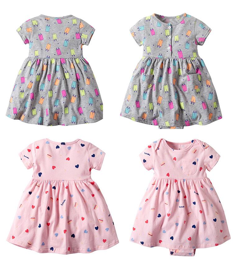 Baby girls cute print romper dress short sleeve baby girl frock