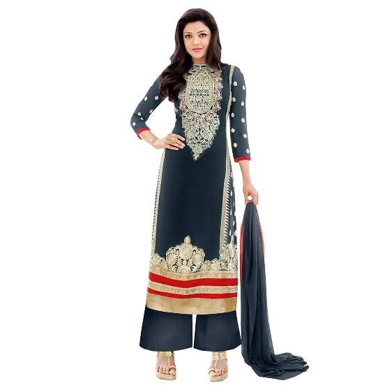 Shonaya Blue Colour Designer Embroidered Faux Georgette Semi Stiched Salwar Suit  MFEKN-62002