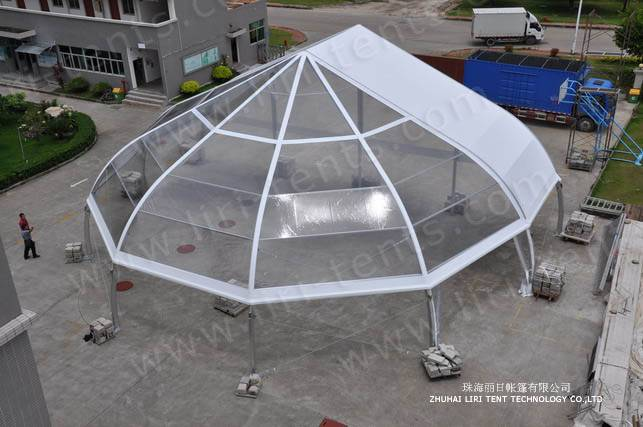 TFS Curve Tent with Transparent Half Decagon End for Sale