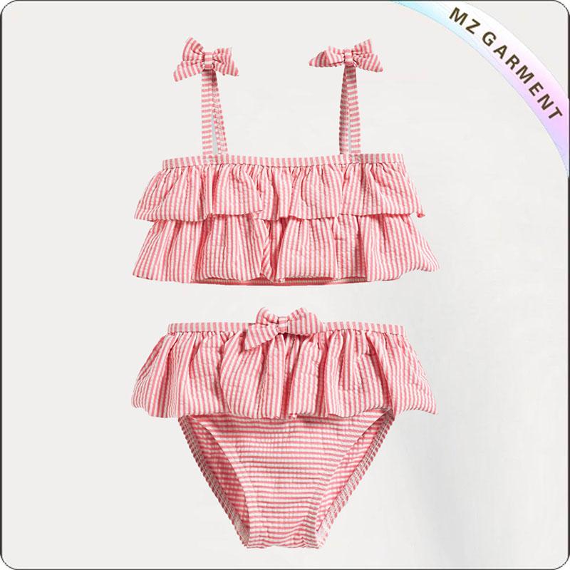 Kids Pink Striped Bikini