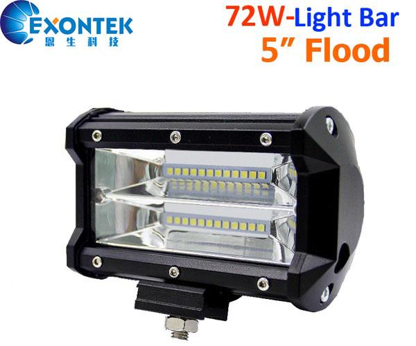 72W 5inch flood beam LED work light bar headlight driving light 4WD offroad JEEP Truck ATV UTE IP67
