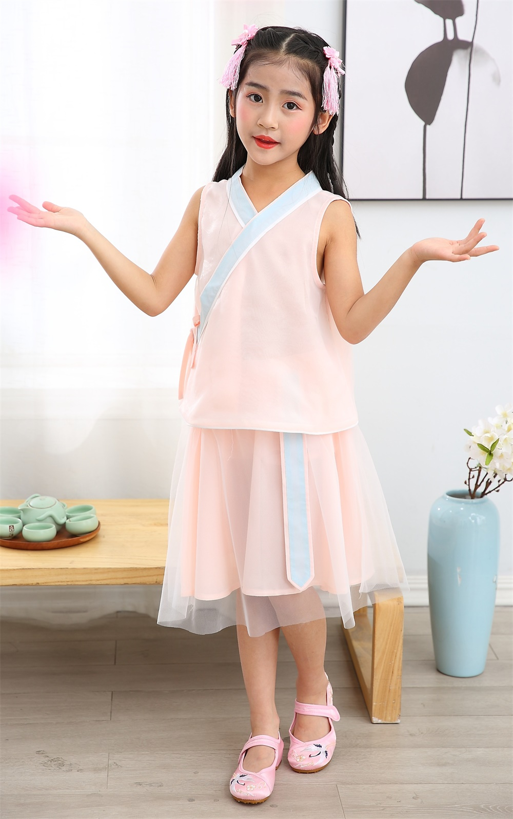 Girl summer sleeveless cross colar two piece setsTang suit Chinese traditional dress Chinese ethnic