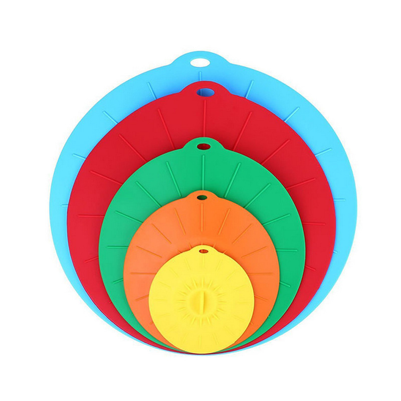 Silicone Suction Lids - Set of 5 Colorful Food Covers - Microwave Safe BPA Free Mugs Pots Bowls Lid
