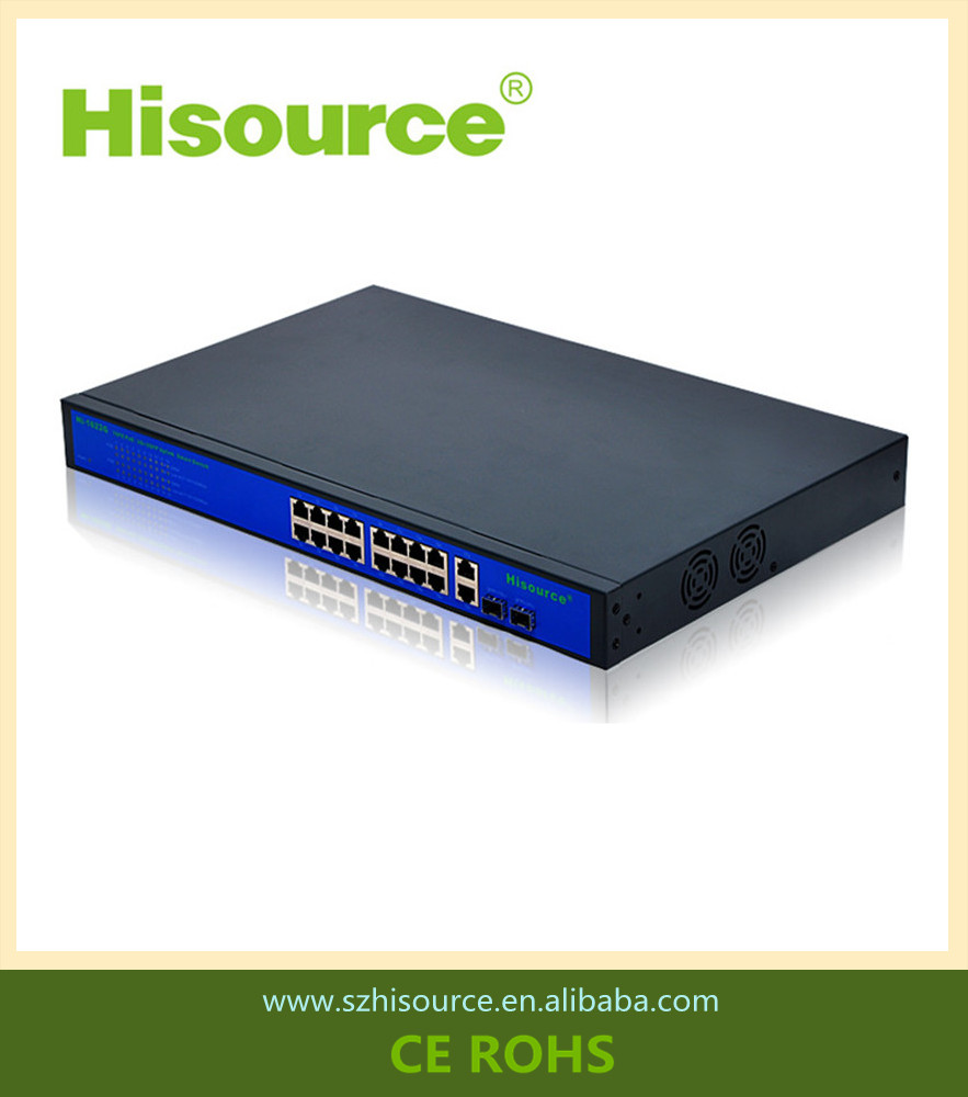 400W 10/100Mbps 16 port poe switch with 2RJ45 100/1000Mbps2SFP 100/1000Mbps