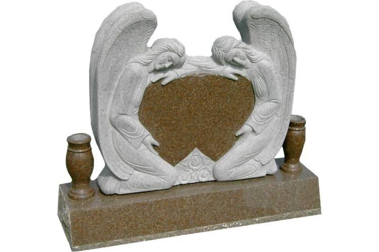Double angel headstone granite monument with vases