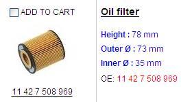 oil filter 1142 7508 969
