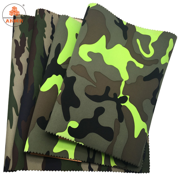 1mm soft neoprene fabric sheets with camouflage polyester fabric for bags