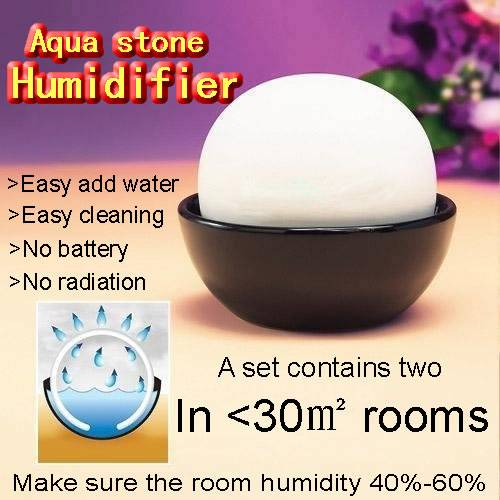 SET OF 2 NATURAL STONE ROOM HUMIDIFIER AQUA STONE DECORATIVE AIR WATER