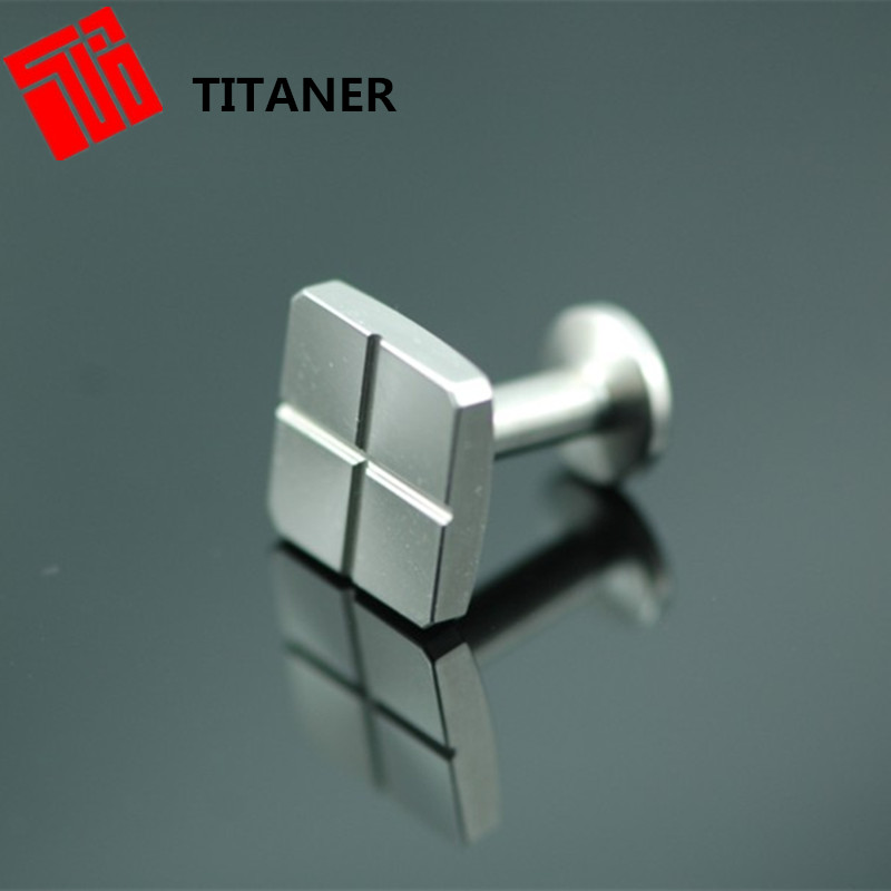 Classic Custom Made Metal Titanium Logo Enamel Laser Engraved Silver Cufflinks