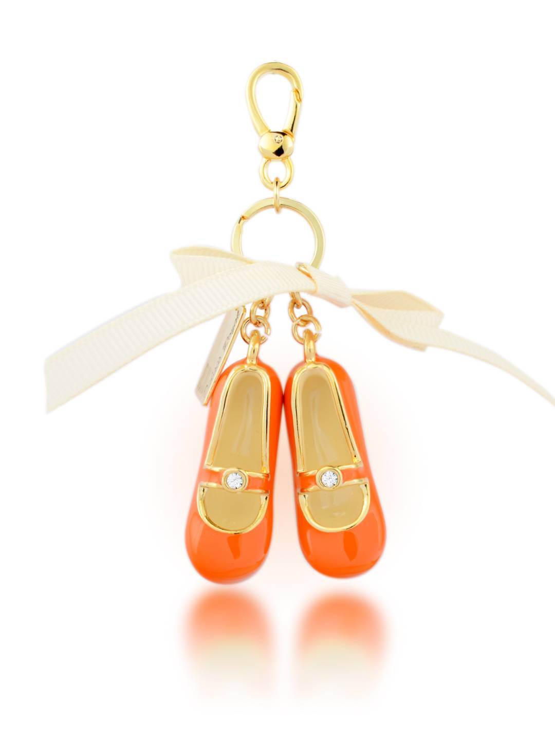Baby shoes keychain-24K gold plating metal keychain with enamelBaby shoes keychain-24K gold plating