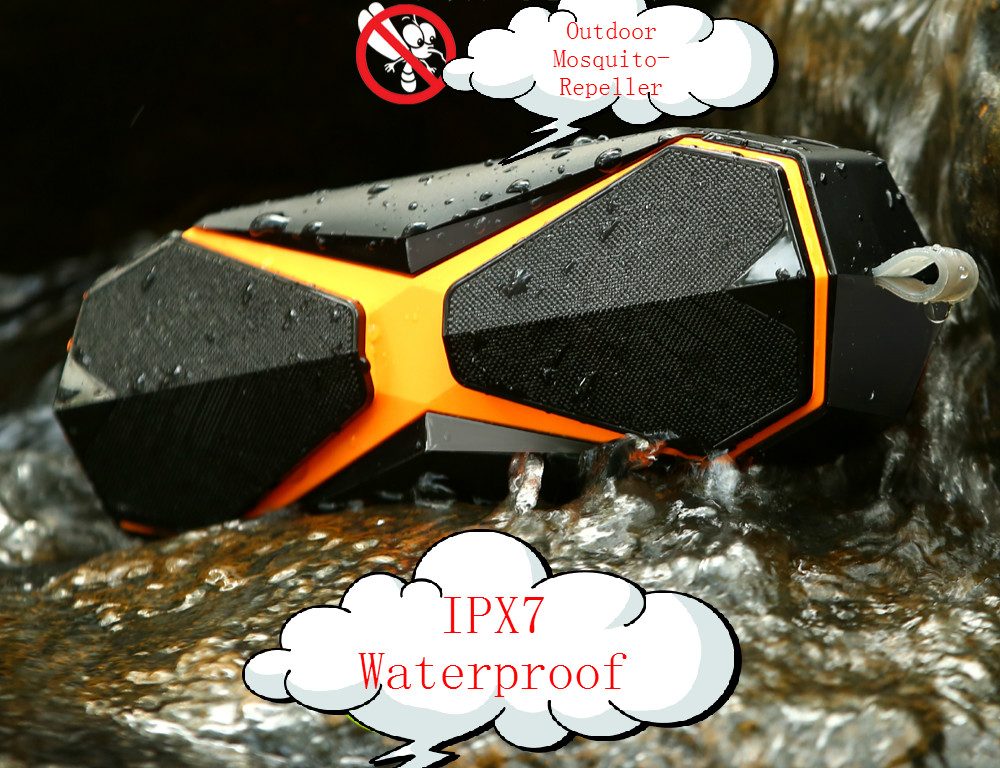 IPX7 Waterproof bluetooth speaker with Mosquito-Repeller