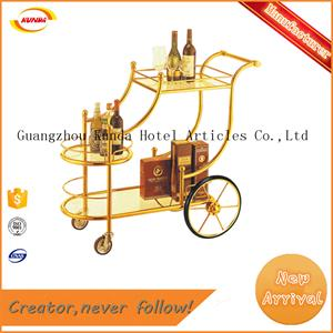 titanium gold ss liquor handcart 3 ties liquor trolley Kunda