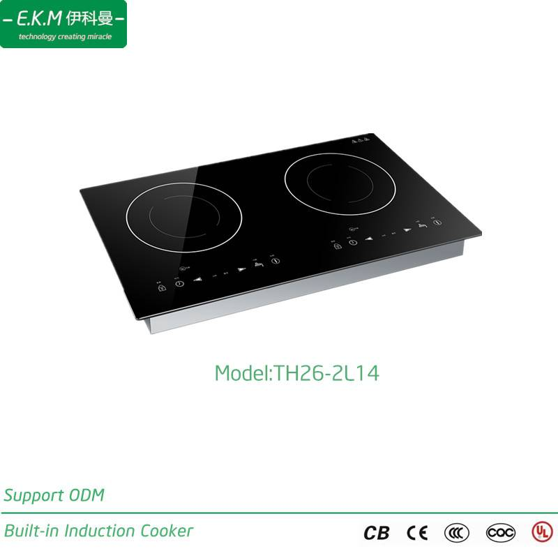 E. K. M Built-in Double Burner Induction Cooker, 2600W, Can Use 5 Years (TH26-2L14)
