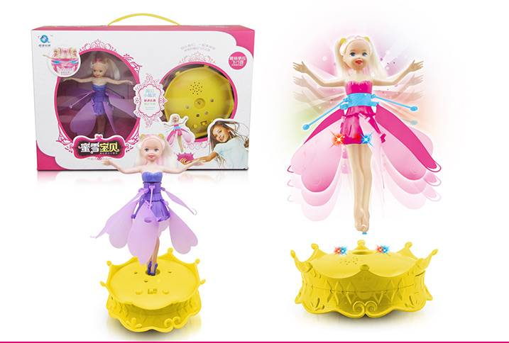 2014 New Girl Toys!Flying sensor Barbie doll with music and light