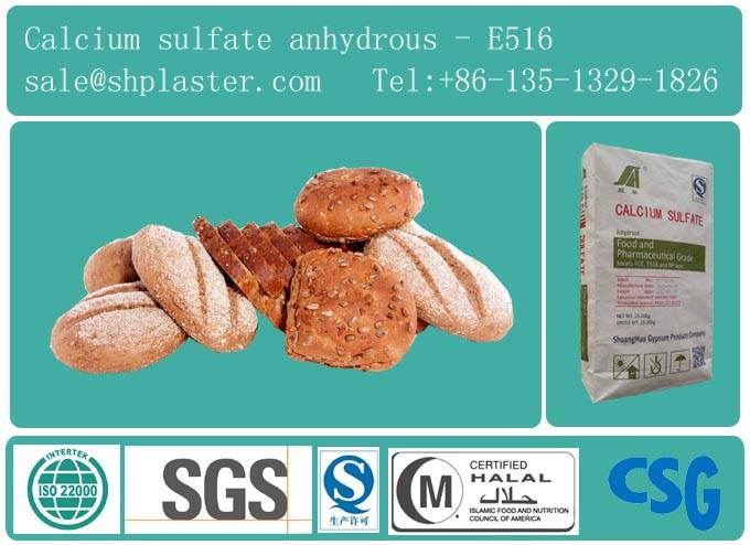 food grade calcium sulfate anhydrous for baking ingredient